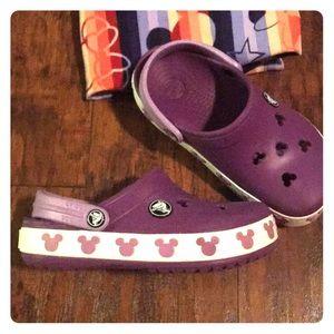 Purple Mickey/Minnie Crocs